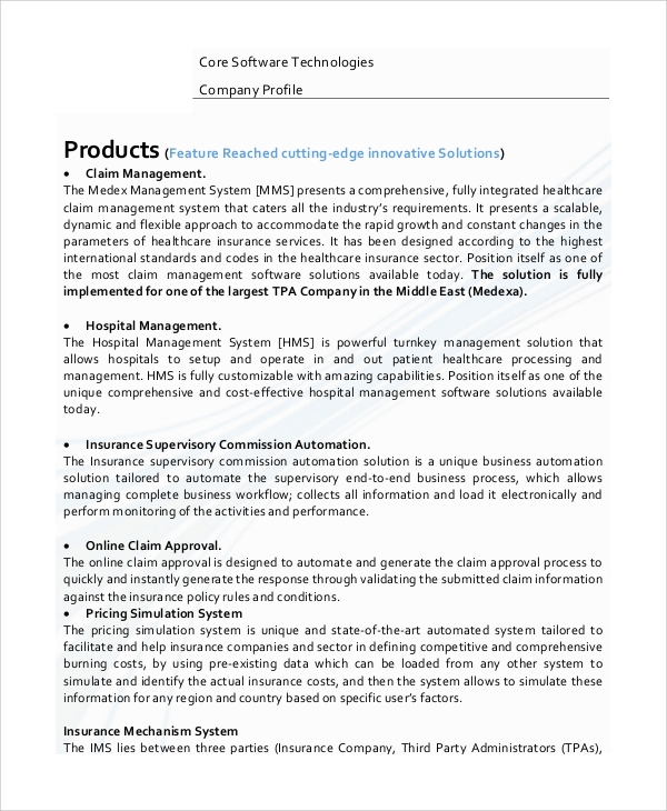 software company profile sample