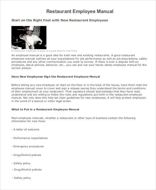 Restaurant Employee Manual Template