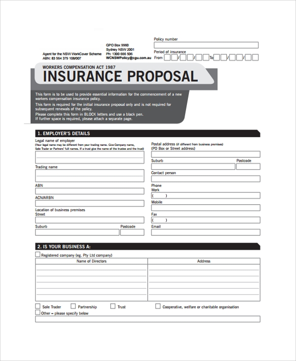 insurance business proposal form