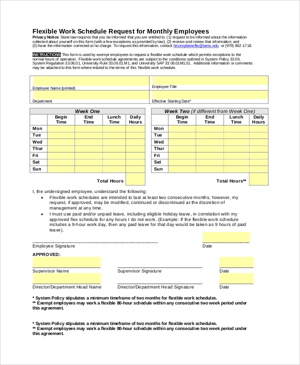 sample employee schedule 6 documents in word pdf