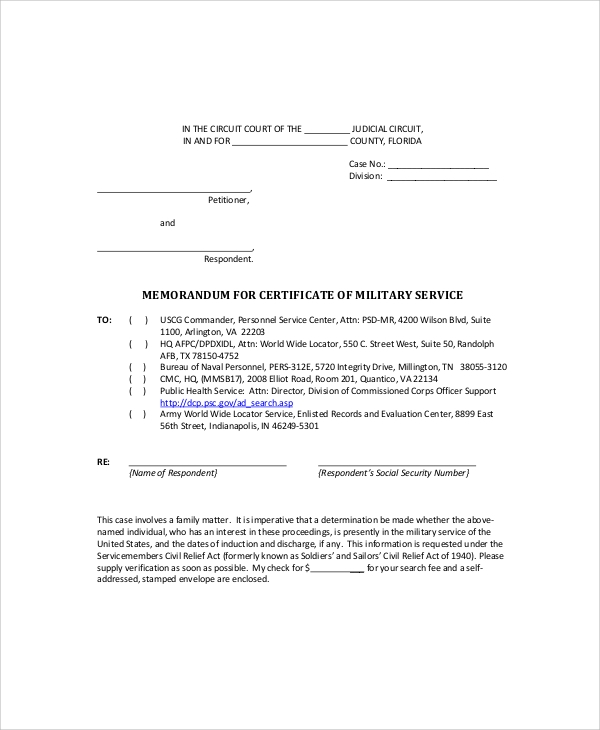 Army Memo Sample 6 Documents in PDF – Army Memo Template