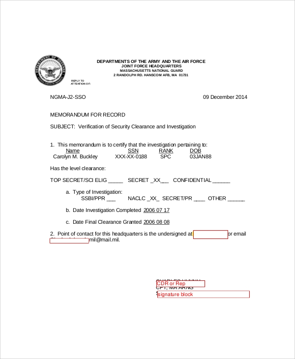 7 army memo samples sample templates army security clearance memo spiritdancerdesigns Images
