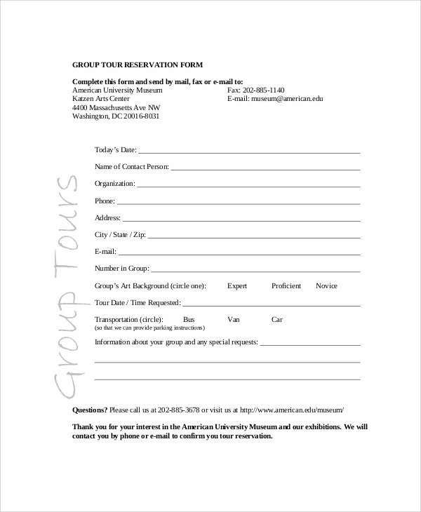 Exceptional Sample Reservation Form U2013 20+ Free Documents In PDF