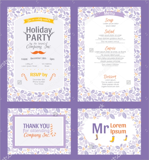 colorful holiday party invitation template