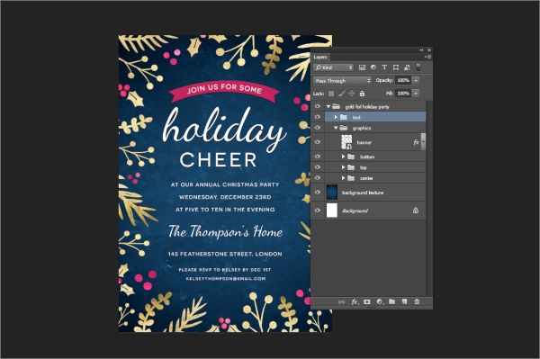 beautiful holiday party invitation 1