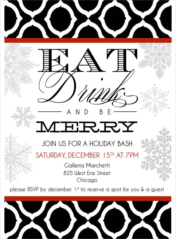 19 holiday party invitation templates sample templates. Black Bedroom Furniture Sets. Home Design Ideas