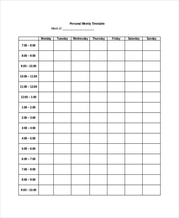 Sample Weekly Timetable   Documents In Pdf Word
