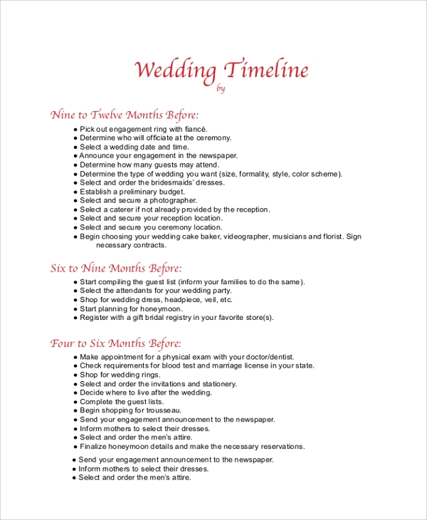 Sample Wedding Timeline   Documents In Pdf
