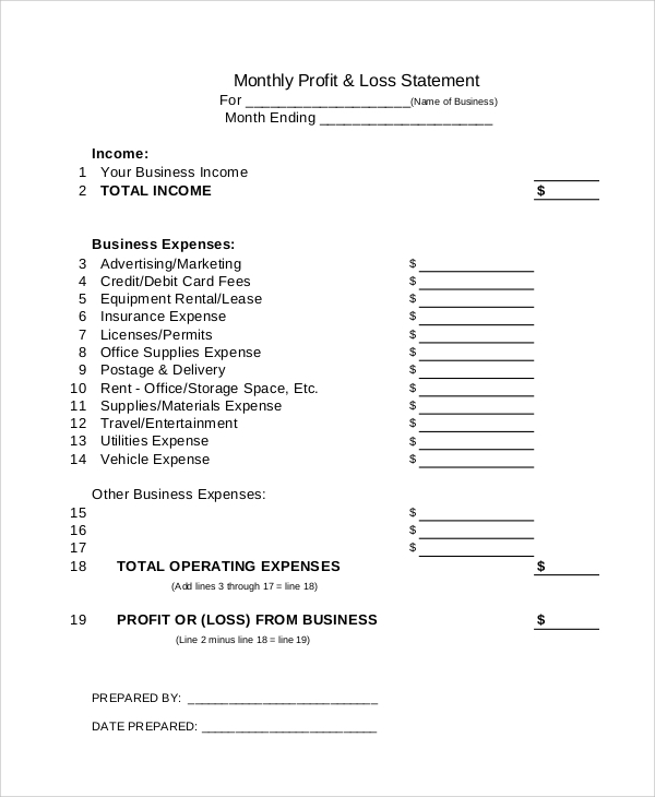 Sample Profit Loss Statement  Loss Profit Statement