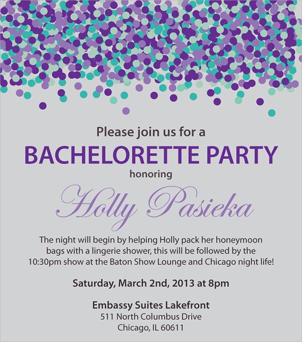 wonderful bachelorette party invitation