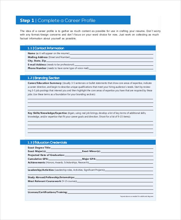 professional profile resume sample