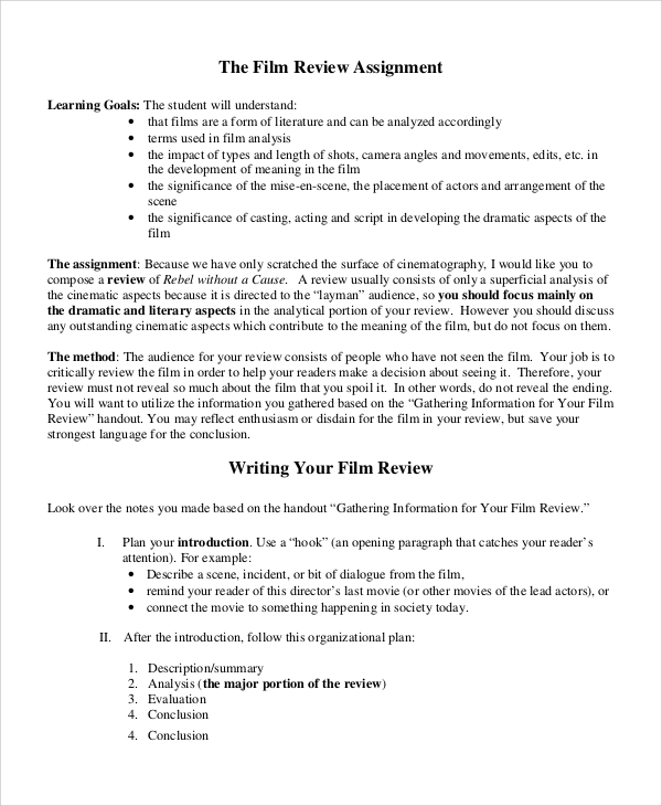 Sample Movie Review   Documents In Word Pdf