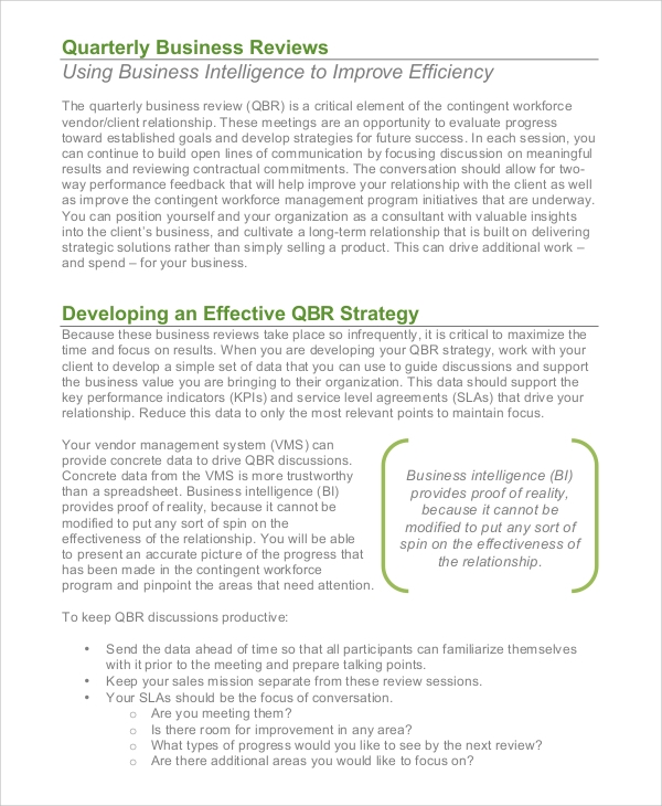 quarterly business review sample