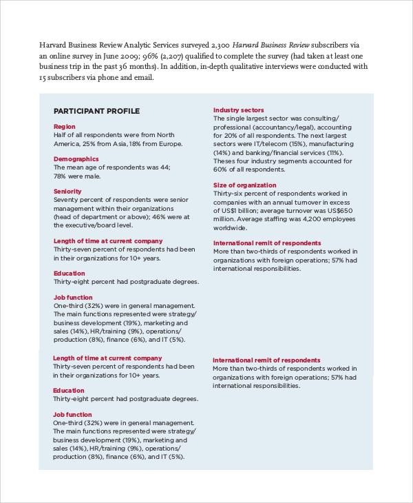harvard business review sample
