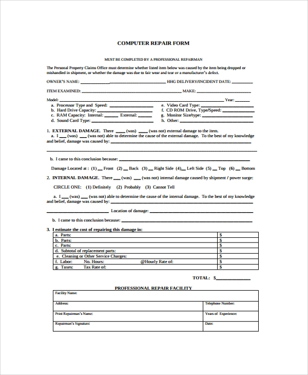 Sample Repair Form   Documents In Pdf Word