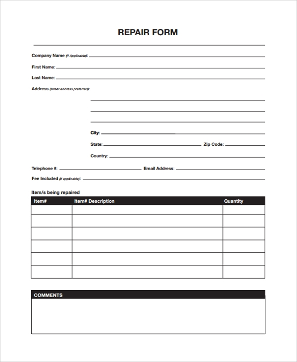 equipment repair form