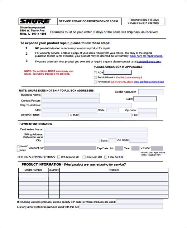 service repair correspondence form