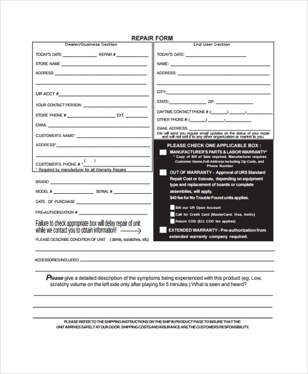 sample repair form