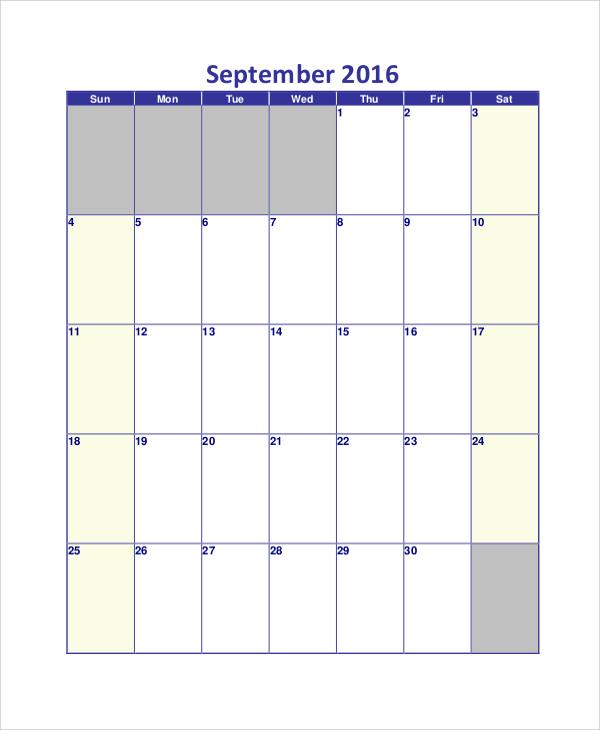 sample daily calendar