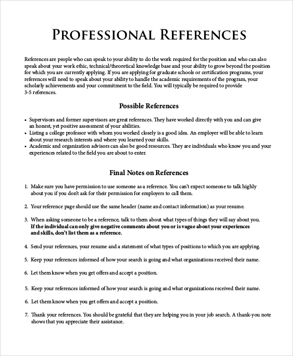 Template For References On Resume Examples Of Reference Page On – Reference Template for Resume