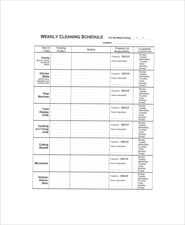 Sample Cleaning Schedule - 6+ Documets In Pdf