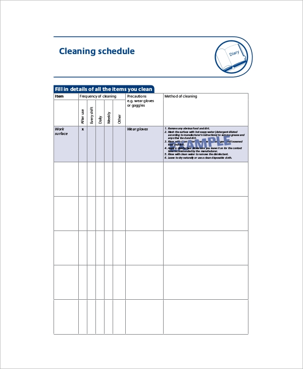 free cleaning schedule