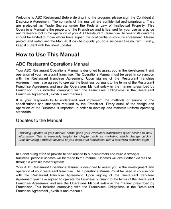 Sample Operation Manual 7 Documents In Word Pdf