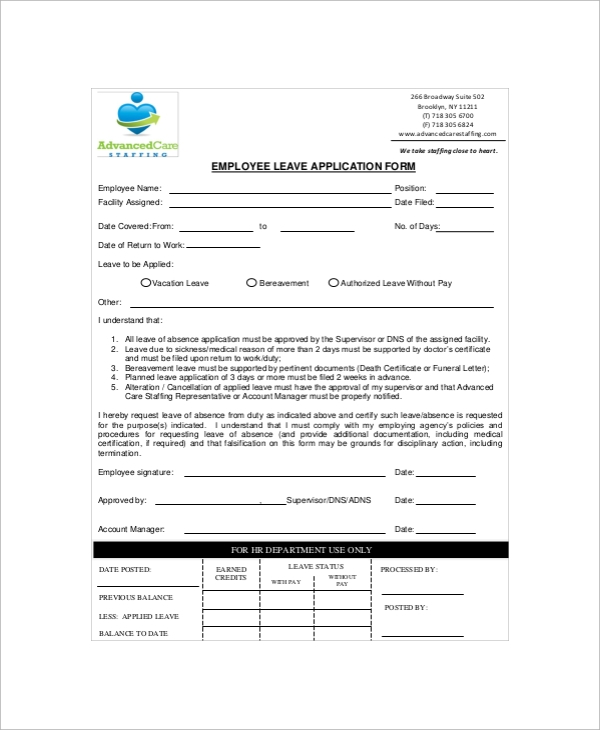 Sample Employment Application Form 10 Documents in PDF – Leave Application Form for Employee