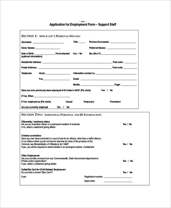 Sample Employment Application Form   Documents In Pdf