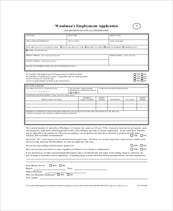 woodmans employment application form