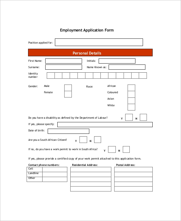 external employment application form