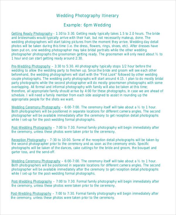 wedding photography itinerary