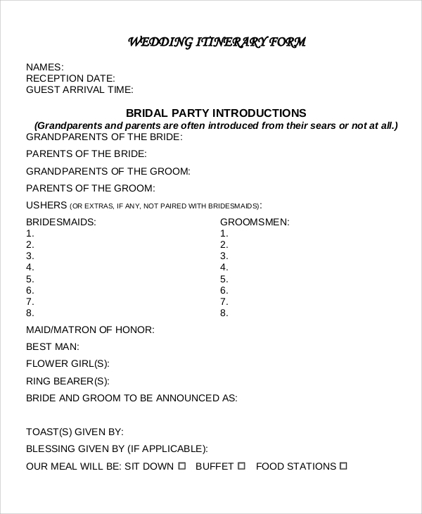 wedding itinerary form