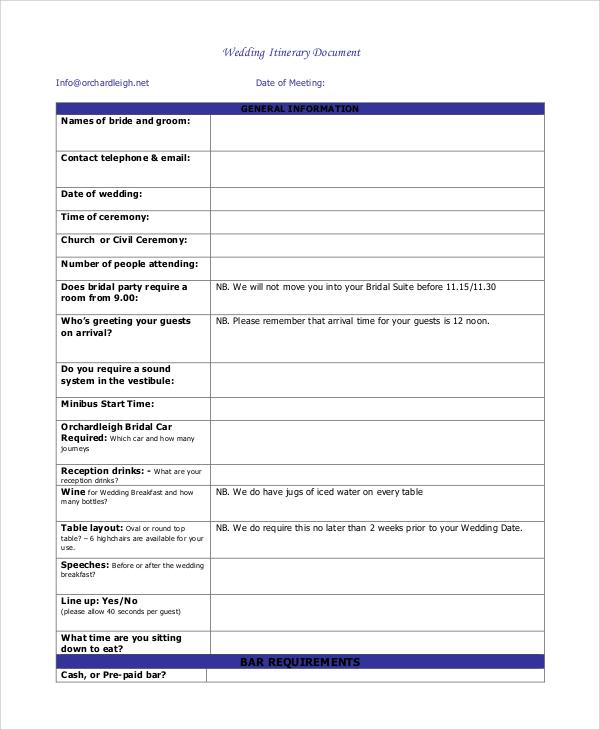 wedding itinerary document