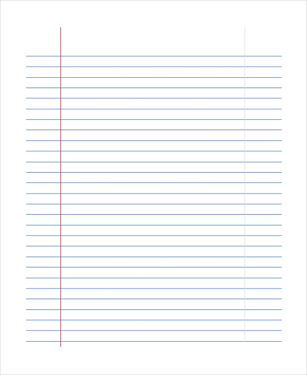 wide ruled notebook paper