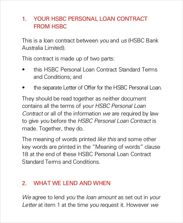 Sample Loan Contract 7 Documents in PDF – Loan Contract Example