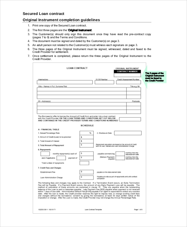 Sample Loan Contract   Examples In Word Pdf