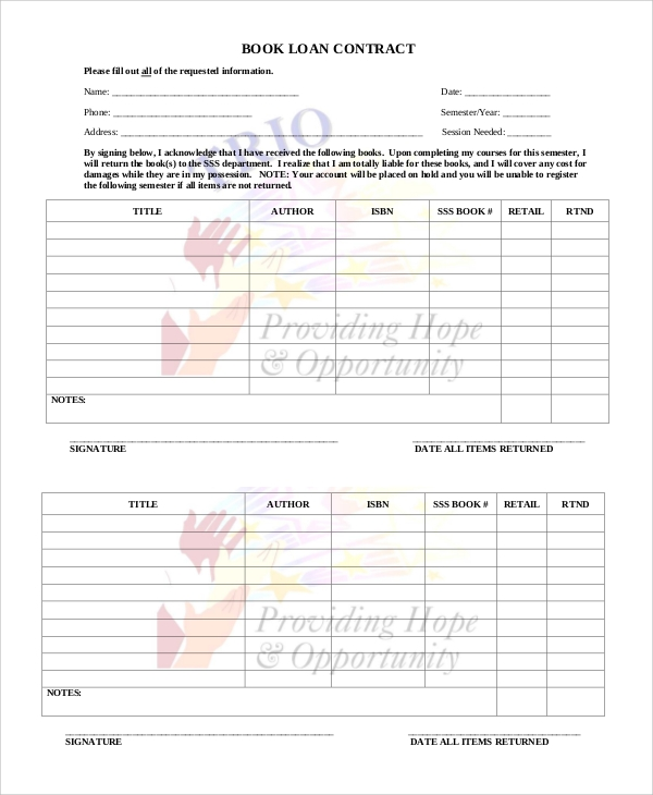 book loan contract form