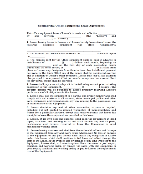 Sample Commercial Office Lease Agreement 7 Documents in PDF Word – Commercial Office Lease Agreement