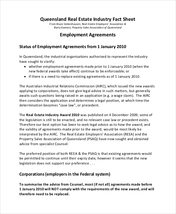 Sample Real Estate Employment Agreement   Documents In Word Pdf