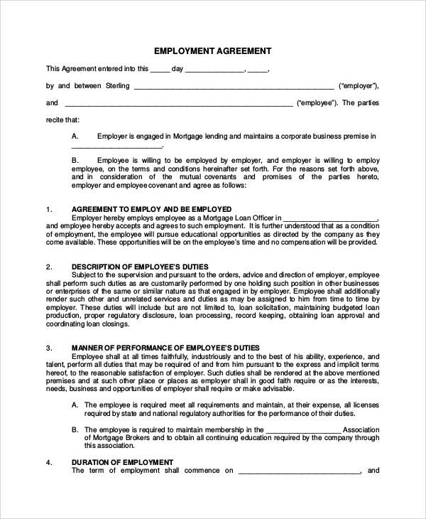 Sample Real Estate Employment Agreement   Documents In Word