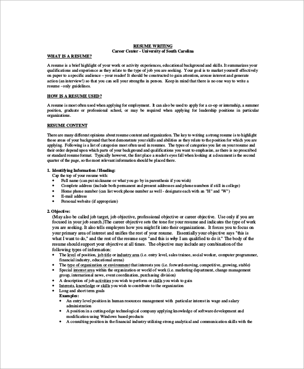 Job Resume Templates Examples: Sample Job Objective