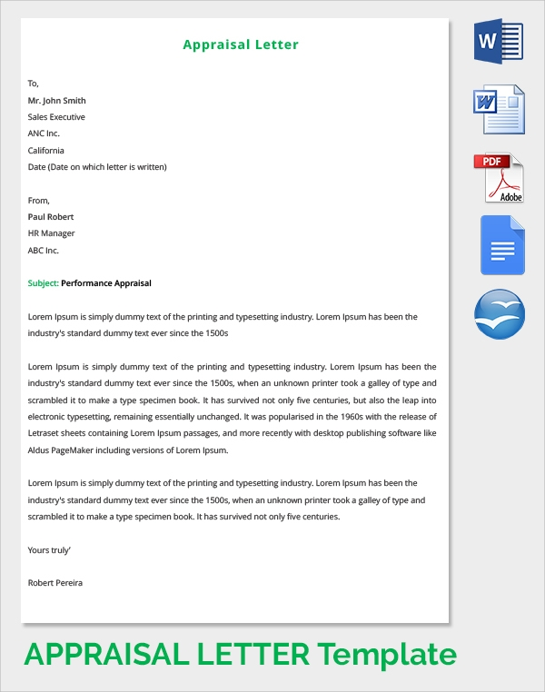9 sample letter of appraisals sample templates performance appraisal letter expocarfo Images