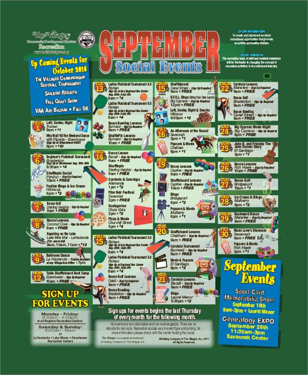 social event calendar