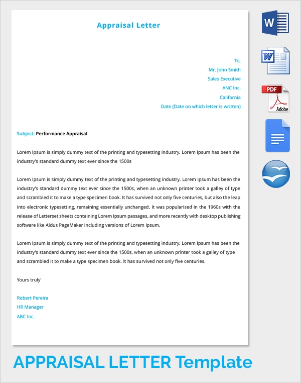 how to write a performance evaluation letter