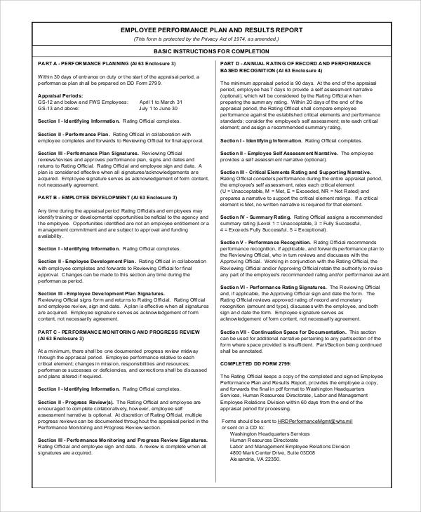 sample employee performance plan