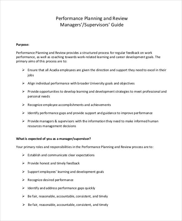 sample supervisor performance plan