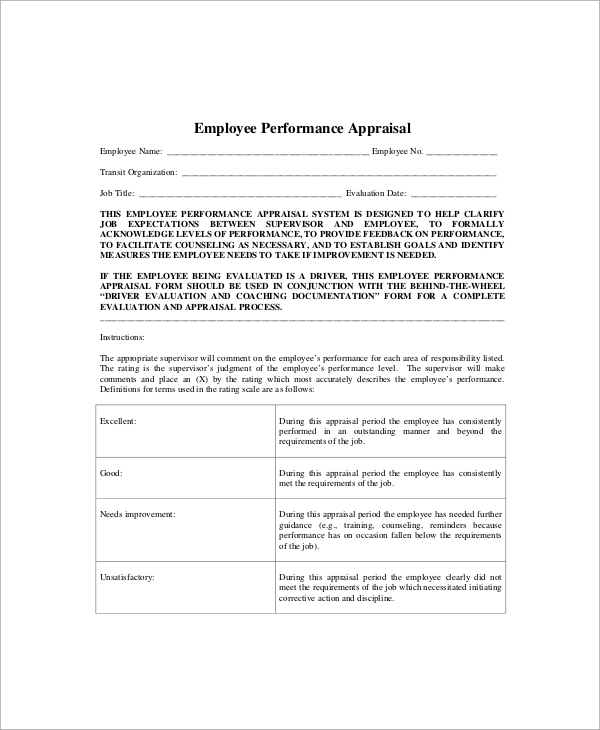 Sample Performance Appraisal   Documents In Word Pdf