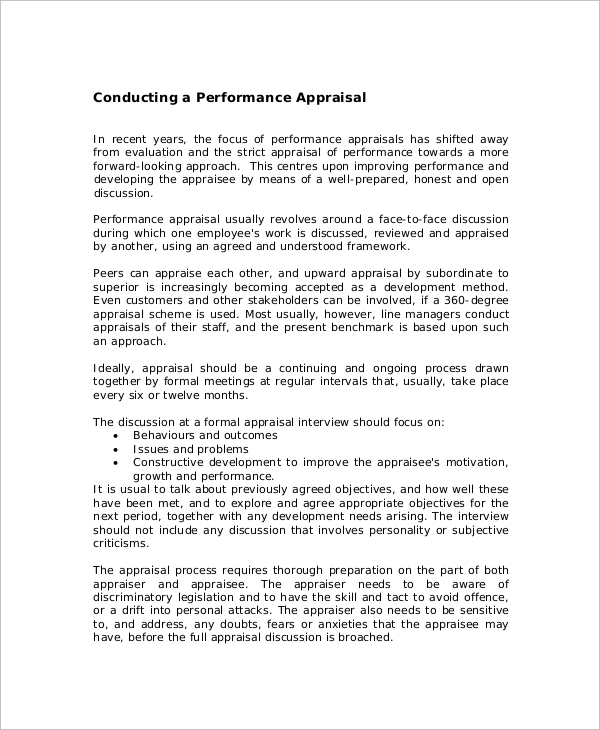 conducting performance appraisal