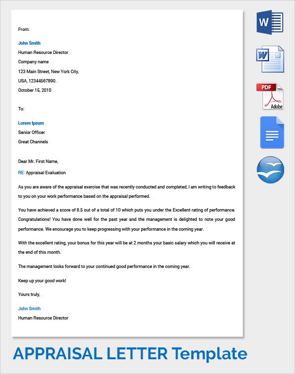 company appraisal letter